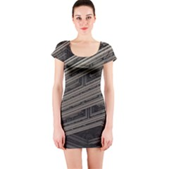 Fractal 3d Construction Industry Short Sleeve Bodycon Dress