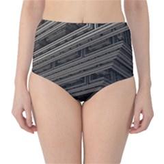 Fractal 3d Construction Industry High Waist Bikini Bottoms