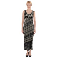 Fractal 3d Construction Industry Fitted Maxi Dress