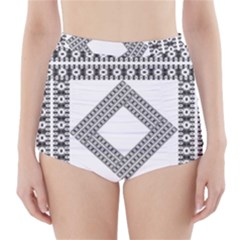 Pattern Background Texture Black High Waisted Bikini Bottoms
