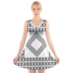 Pattern Background Texture Black V-Neck Sleeveless Skater Dress
