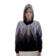 Feather Graphic Design Background Hooded Wind Breaker (women)