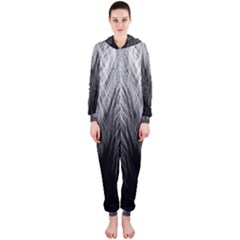 Feather Graphic Design Background Hooded Jumpsuit (Ladies)