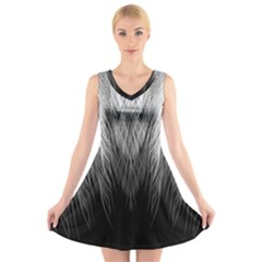 Feather Graphic Design Background V-Neck Sleeveless Skater Dress