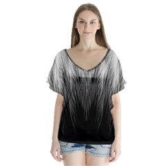 Feather Graphic Design Background Flutter Sleeve Top