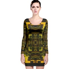 Abstract Glow Kaleidoscopic Light Long Sleeve Velvet Bodycon Dress