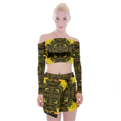 Abstract Glow Kaleidoscopic Light Off Shoulder Top With Skirt Set