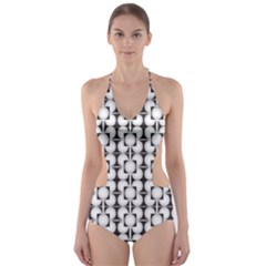 Pattern Background Texture Black Cut Out One Piece Swimsuit