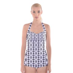 Pattern Background Texture Black Boyleg Halter Swimsuit