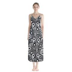 Paisley Pattern Paisley Pattern Button Up Chiffon Maxi Dress