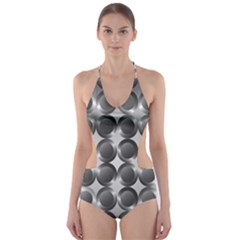 Metal Circle Background Ring Cut Out One Piece Swimsuit