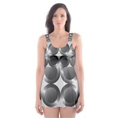 Metal Circle Background Ring Skater Dress Swimsuit