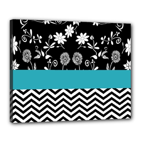 Flowers Turquoise Pattern Floral Canvas 20  X 16