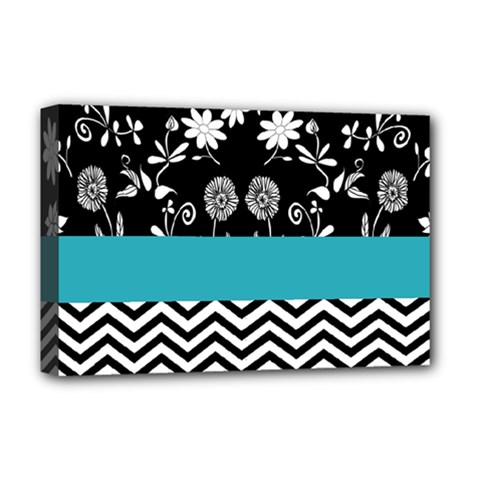 Flowers Turquoise Pattern Floral Deluxe Canvas 18  x 12