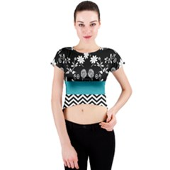 Flowers Turquoise Pattern Floral Crew Neck Crop Top