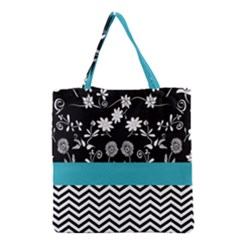 Flowers Turquoise Pattern Floral Grocery Tote Bag