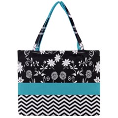 Flowers Turquoise Pattern Floral Mini Tote Bag