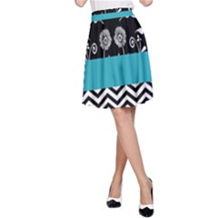 Flowers Turquoise Pattern Floral A-Line Skirt