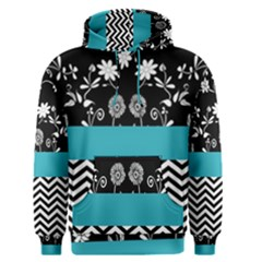 Flowers Turquoise Pattern Floral Men s Pullover Hoodie