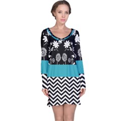 Flowers Turquoise Pattern Floral Long Sleeve Nightdress