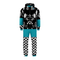 Flowers Turquoise Pattern Floral Hooded Jumpsuit (Kids)