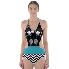 Flowers Turquoise Pattern Floral Cut Out One Piece Swimsuit