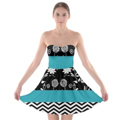 Flowers Turquoise Pattern Floral Strapless Bra Top Dress