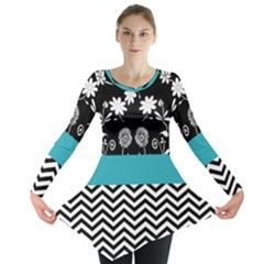 Flowers Turquoise Pattern Floral Long Sleeve Tunic