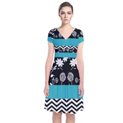 Flowers Turquoise Pattern Floral Short Sleeve Front Wrap Dress