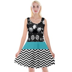 Flowers Turquoise Pattern Floral Reversible Velvet Sleeveless Dress