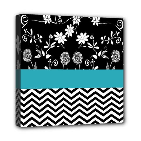 Flowers Turquoise Pattern Floral Mini Canvas 8  X 8