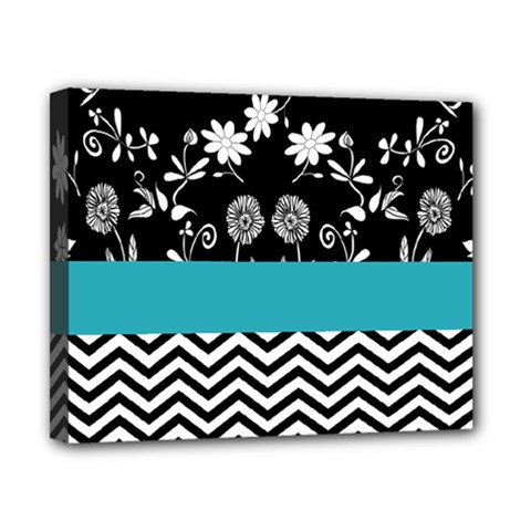 Flowers Turquoise Pattern Floral Canvas 10  X 8