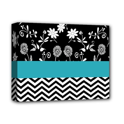 Flowers Turquoise Pattern Floral Deluxe Canvas 14  X 11