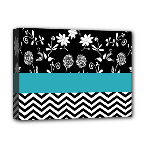 Flowers Turquoise Pattern Floral Deluxe Canvas 16  x 12