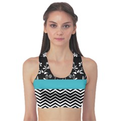 Flowers Turquoise Pattern Floral Sports Bra