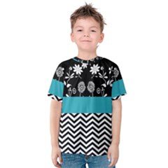 Flowers Turquoise Pattern Floral Kids  Cotton Tee