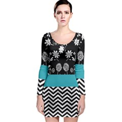 Flowers Turquoise Pattern Floral Long Sleeve Bodycon Dress