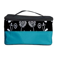 Flowers Turquoise Pattern Floral Cosmetic Storage Case