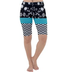 Flowers Turquoise Pattern Floral Cropped Leggings