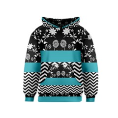 Flowers Turquoise Pattern Floral Kids  Pullover Hoodie