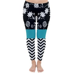 Flowers Turquoise Pattern Floral Classic Winter Leggings