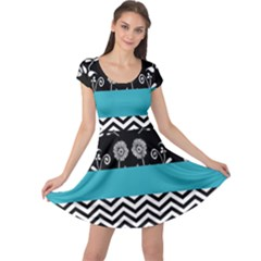 Flowers Turquoise Pattern Floral Cap Sleeve Dresses