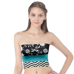 Flowers Turquoise Pattern Floral Tube Top