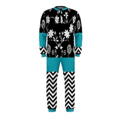 Flowers Turquoise Pattern Floral Onepiece Jumpsuit (kids)