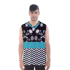 Flowers Turquoise Pattern Floral Men s Basketball Tank Top