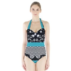 Flowers Turquoise Pattern Floral Halter Swimsuit