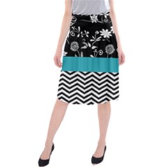 Flowers Turquoise Pattern Floral Midi Beach Skirt