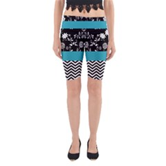 Flowers Turquoise Pattern Floral Yoga Cropped Leggings