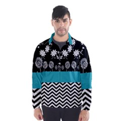 Flowers Turquoise Pattern Floral Wind Breaker (Men)