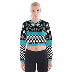 Flowers Turquoise Pattern Floral Cropped Sweatshirt